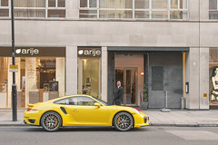Scary Security Guy (- Icy J -) Tags: uk guy london car yellow silver scary body 911 fast s security knightsbridge exotic turbo porsche kit carbon rims tuning rare supercar exotics 991 fibre centerlock worldcars f2x m235i