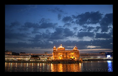 Revered (Sanjeev Syal) Tags: wallpaper monument water beautiful clouds religious pond asia peace religion sacred sikhs punjab pure amritsar sikhism goldentemple sacredpond sarovar darbarsahib nanak gobind harimadirsahib