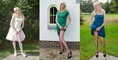 3 different outfits. (sabine57) Tags: stockings drag tv highheels cd crossdressing tgirl transgender dresses tranny transvestite crossdresser crossdress nylons travestie transvestism stockingtops
