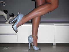 R0013115 - One leg Stand! (nylongrrl) Tags: blue hot sexy stockings garter pose grey high shiny shine skirt waist elite heels corset gloss satin nylon nylons taille rhts