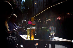 beer & flare (Argon X) Tags: light people balloons table glasses evening shadows contra lager backlighting