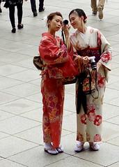 Tourist women in kimonos (Caroline) Tags: japan japanese women tourists kimono nara todaiji tdaiji