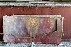 panel in a former soviet theater in Fe. (DDR), abandoned for 20 years (photosucher) Tags: germany emblem army east soviet ddr gdr ussr cccp udssr sowjetunion gssd gsvg gssdgsvgwgtudssrussrddrcccpgsrsowjetunionsovietarmysowjetischearmee