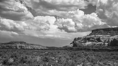 Lupton Landscape (kennethmcallahan) Tags: arizona blackandwhite nature clouds landscape sandstone desert cliffs cave dirtroad roads cloudporn blackandwhitephotography lupton