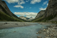 Cirrus Mountain (SandyK29) Tags: morning blue summer sky mountain canada nature water beauty clouds river nikon rocks turquoise peaceful calm alberta riverbed ramparts upstream cirrus saskatchewanriver icefieldsparkway canadianrockies cirrusmountain parkerridge nikond800