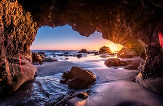 Nikon D810 HDR Photos Malibu Sea Cave Sunset, Dr. Elliot McGucken Fine Art Photography!  14-24mm Nikkor Wide Angle F/2.8 Lens!