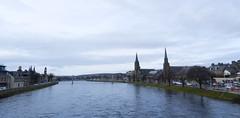 River Ness, Inverness, Feb 2017 (allanmaciver) Tags: river ness inverness highalnds scotlandd grey day steeple church water bridge central city allanmaciver