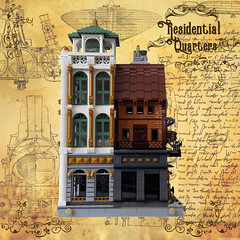 Residential Quarters - Facade 2 (Zilmrud) Tags: moc lego steam punk steampunk modular building swebrick ruins san victoria house