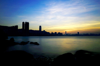 晚霞映照維港,夜將降臨   Victoria Harbour View at the End of the Day