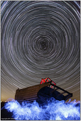 The Boat ST&LP (seb a.k.a. panq) Tags: night stars startrails abandoned boat lp lightpainting elwire blue red sebastianbakajphotography nightphotography nightwork nightscape nightsky noctography dungeness kent polaris north