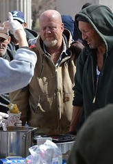 These two men were among the crowd lined up for a free lunch being served by two church groups in Denver. (desrowVISUALS.com) Tags: economics economy poverty poorpeople austerity economiccrisis poor