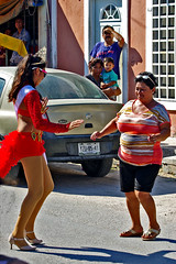 Carnival dancing in the street.  Sisal, Yucatan, Mexico. (cbrozek21) Tags: dancing carnival street costume people gente mexico joy color youth fun celebrations onlookers streetscene portraits pentaxart