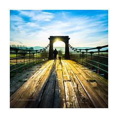 Early Dog Walk (Mark Lindstrom) Tags: horkstowbridge sunrise dogwalker sunburst silhouette spring peaceful rural canon5dmkiii canon1635f4 shadow leehardgradfilter