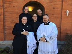 Frs. Kesicki and Rouch with seminarians Joe Petrone, John Hepinger and Andy Boyd at St. Vincent Seminary – March 2017