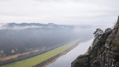 A View of Elbe from the Top (HansPermana) Tags: bastei basteigebiet sachsen deutschland germany moutnain nature cloudy foggy raining elbe river fluss water aerialview rathen