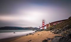 Touching the clouds II (ELX_Images) Tags: sand landscape elxphotography nature mist outdoor recreation holiday clouds california beach sanfrancisco goldengate water sky fog america sea rocks red bridge