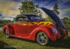 Painted Ford (Edward Saksenhaus RPh.) Tags: car auto vehicle travel roam ride red flames transportation transport automobile autoshow automotive vintage old painting oil classic