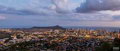Panorama of Honolulu from Tantalus Viewpoint (davidgevert) Tags: d800 nikond800 nikon2470mmf28 panorama cityscape bluehour honolulu hawaii oahu cityscapepanorama diamondhead tantalus tantalusviewpoint roundtopdrive travelphotography davidgevert gevertphotography