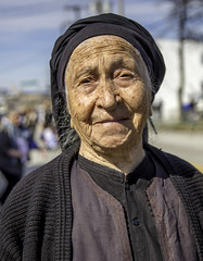 95 year-old Greek woman in Baltimore (crabsandbeer (Kevin Moore)) Tags: event baltimore children city greek greekindependenceday greektown highlandtown parade people urban woman portrait age oldwoman 95yearsold geriatric yiayia old wrinkles