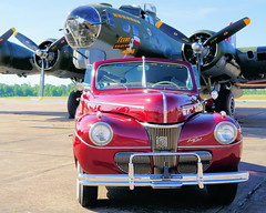 40's Beauties: 1941 Ford Super Deluxe and the Texas Raiders (Robert Holler Photography) Tags: b17 ford super deluxe texas raiders red airplane automobile convertible bomber