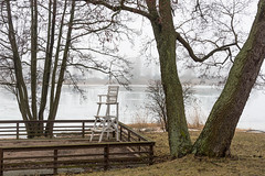 Off Season Terrace (pni) Tags: quiet fog tree water sea terrace chair lawn meritalli helsinki helsingfors finland suomi pekkanikrus skrubu pni mist highchair
