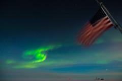 Aurora Day at South Pole (redfurwolf) Tags: southpole antarctica antarctic aurora auroraaustralis sky clouds snow ice flag icecube icecubelab spt mapo dsl outdoor night redfurwolf sonyalpha sony a99ii sal1635f28za wideangle stars star southerncross nature landscape