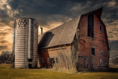 Lean On Me (henryhintermeister) Tags: barns minnesota oldbarns clouds farming countryliving country sunsets storms sunrises pastures nostalgia skies outdoors seasons field hay silos dairybarns building architecture outdoor winter serene grass landscape plant cloudsstormssunsetssunrises