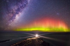 Akaroa Aurora (robjdickinson) Tags: astronomy sky galaxy landscape light space aurora stars milkyway lighthouse sea newzealand christchurch auroraaustralis