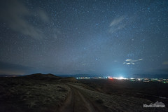 Lights of Cody (kevin-palmer) Tags: mcculloughpeaksbadlands badlands cody wyoming blm april spring evening nikond750 night sky stars starry space astronomy astrophotography dark clouds lights lightpollution unpaved dirt road irix15mmf24 orion astrometrydotnet:id=nova2036923 astrometrydotnet:status=failed