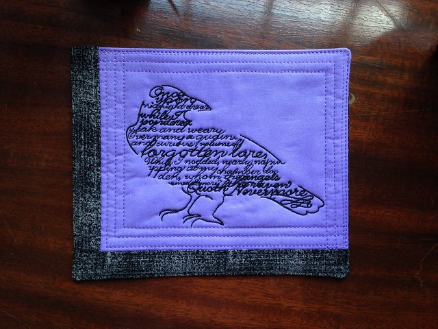 halloween embroidery raven poe machineembroidery nevermore miniquilt mugmat urbanthreads