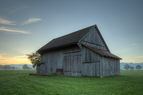 Old barn during twilight