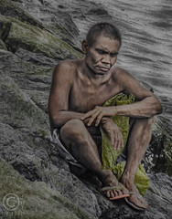 Poverty-stricken (FotoGrazio) Tags: poverty old man male wet water sorry naked bay rocks alone sitting sad dismal wayne poor towel sit manila malate filipino depressed frown melancholy somber unhappy slippers pinoy bitter exhausted wistful destitute needy mournful heartbroken pessimistic adj indigent penniless strapped povertystricken grazio lalaki sorroful fotograzio