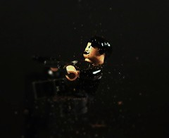 Action shot test (SilverMorph) Tags: test flying fight shot lego action debris explosion battle soil dirt shooting dust brickarms legography
