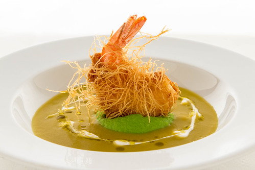 Split Pea Soup, Pea Puree, Mint Oil, Shrimp in a Crispy Nest