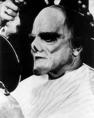 James Cagney being made up as Lon Chaney, Sr. playing the Phantom of the Opera. From Man of a Thousand Faces (1957) (Tom Simpson) Tags: film vintage makeup horror 1957 behindthescenes phantomoftheopera jamescagney lonchaneysr manofathousandfaces