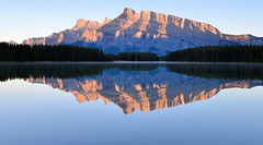 Pure Two Jack (Kevin Benedict Photography) Tags: morning travel blue mountain lake canada mountains reflection water sunrise reflections landscape rockies dawn nationalpark still nikon calm alberta banff rockymountains mountrundle rundle canadianrockies twojack photobenedict