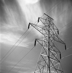 Transmission Tower (scott_z28) Tags: red blackandwhite bw tower 120 6x6 tlr film monochrome electric mi power michigan pylon 150 electricity epson v600 15minutes rodinal electrical ilford yashica transmission baycity panf 635 tricities 25a