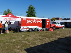 Specialized support truck - The Dempsey Challenge 2014 (lucre101) Tags: charity blue sky usa sun celebrity bike america hope bicycling cycling healthy warm maine cancer patrick poland sunny auburn racing research hollywood dempsey healing northeast challenge amgen lewiston specialized 2014 cmmc dempseychallenge whoareyoutherefor