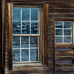 Bodie Window (stephencurtin) Tags: california wood windows snow reflection mill window glass factory stamp weathered bodie rough wavy challenge the thechallengefactory
