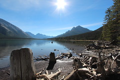 Spray Lakes Alberta Canada Fall 2014 (davebloggs007) Tags: blue trees sky canada fall water lakes spray alberta 2014