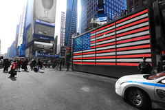 NYPD Protecting Times Square (adam_bluk) Tags: new york blue red usa white colour square stars stripes police nypd times protection officer selective