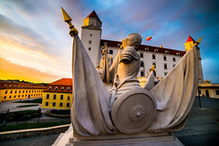 sculptur in Bratislava castle (gekaskr) Tags: old travel summer urban sculpture white building tower castle art history tourism statue architecture outside outdoors evening town europe european cityscape view fort famous capital sightseeing landmark courtyard palace medieval historic historical slovakia fortification fortress bratislava equestrian czechoslovakia attraction locations exteriors slovak svatopluk