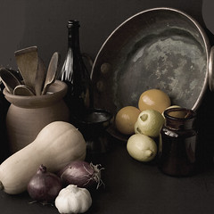 autumn in the kitchen (Wendy:) Tags: wood autumn stilllife glass terracotta lemons onions squash copper garlic oranges textured preservingpan