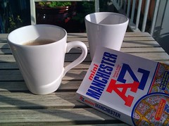 Tea Time A to Z (Mamluke) Tags: uk england sunlight white table manchester mugs book tea unitedkingdom map balcony maps atlas z guide teatime index handles atoz mamluke a streetatlas minimanchester