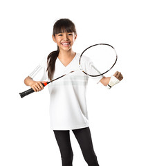 Little asian girls with badminton (Patrick Foto ;)) Tags: portrait people white game cute sports girl beautiful beauty smile childhood smiling sport female standing training studio asian fun thailand happy person one kid big holding pretty child play exercise emotion little background joy daughter young adorable lifestyle player human thai attractive leisure concept joyful badminton isolated racket