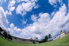 Kanazawa Castle (Takeshi Nishio) Tags: uv nikonfm3a   ei100  16mmfisheye fujiprovia100frdpiii filmno799