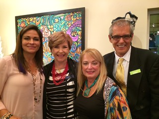 Artist Chary Rico-Torres with Coconut Grove gallery owner Sheila Kuhl, Cindy Eisenman and gallery general manager Brian Vinski at the opening of Chary's show there