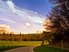 Country Road ~ Route de campagne (SergeK ) Tags: road blue trees shadow sky sun green fence landscape soleil europe belgium belgique country perspective vert ombre bleu route ciel arbres paysage tones campagne namur crupet
