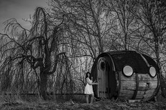 The wooden cabin (wil.crooymans) Tags: cabin wooden forest hut bos bomen trees nachthemd model vrouw girl nightdress night shelter abandoned beauty nederland