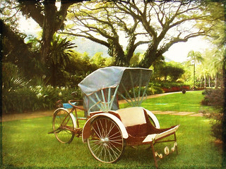 Old style transport on display in the hotel grounds - Penang, Malaysia